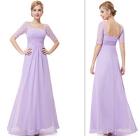 Wholesale 2015 Vintage Half Sleeves Bridesmaids Dresses Lilac Empire Wedding Guest Gowns A line Long Full Length Dress For Girls Party Custom Made