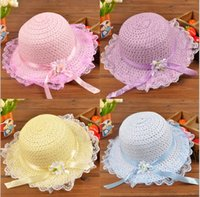 Wholesale 2015 princess ribbon flower Topee Summer girls straw hat lace beach hat leisure kids sun hats Korean girls caps XD