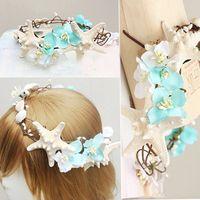 Wholesale 2015 Summer Beach Wedding Hair Accessories Starfish Bridal Headpieces Garlands Head Pieces Handmade Flowers Shell Adorn High Quality