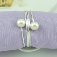 Wholesale New Wedding Bridal Shower Favour Napkin Rings Party decor Round Ring pearl Napkin Rings Hotel Wedding Supplies