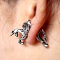 asian unicorn - 2015 time limited ear cuff white black anniversary design fashionable punk style unicorn pegasus piercing earrings factory direct
