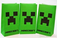 Wholesale 2015 Hot Minecraft Popcorn Paper Pack Bags Cinema Candy Cookie Container Party Favors Package