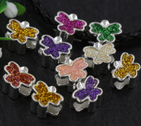 big hole beads - Mix Silver Enamel Assorted of Shinning Color Butterfly Big Hole Loose Beads European Bead Fit Bracelets mm Hole Colors