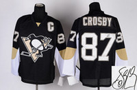 Wholesale New Hot Autographed Penguins Jerseys Black Sidney Crosby Hockey Jerseys Signature Edition Men Hockey Wear Embroidered Ice Hockey Uniform