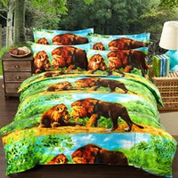 quilts - Cotton D stereoscopic printing Four set active twill sheet quilt cover European bedding wedding lion