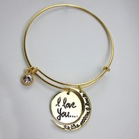 Wholesale 2015 new fashion alex and ani bangle bracelets i love you to the moon and back Pendants bangle bangle bracelets