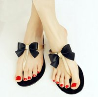 Wholesale Rhinestone Bow Thong Jelly Shoes Summer Ladies Jelly Flip Flops Women Sandals Beach Flat Slippers Black Khaki Color Sapatos Femininos