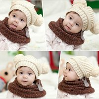 Wholesale 2015 New arrival Hot sale best quality Winter Cute Baby Kids Girls Boys Kids Children Dual Ball Knit Sweater Cap Hats Winter W