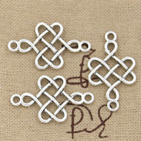 antique knotted - 150pcs Charms chinese knot mm Antique Zinc alloy pendant fit Vintage Tibetan Silver DIY for bracelet necklace