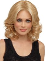 average female size - High temperature Gold Color Female Wave Wigs Women wig New Fashion style Cosplay wig lady medium long Synthetic Hair Accept OEM
