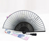 Wholesale Hot Chinese Japanese Folding Black Hand Held Fan Silk Flower Bamboo Pocket Fan Y57