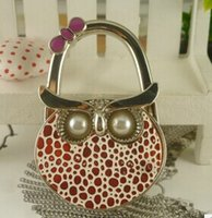 purse hanger wholesale - Fashion owl hang bag hook Metal Hand Bag Handbag Purse Hanger Hook Holder mxied colors peice