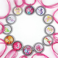Wholesale Newest Cartoon Kids Jewelry My Little Pony Bottle Cap Pendant Necklace Hot Pink Ribbon Necklace Horse Pony Baby Children Fashion Jewelry