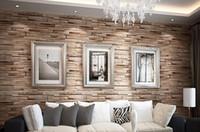 paper background - New meter D Luxury Wood Blocks Effect Brown Stone Brick M Vinyl Wallpaper Roll Living Room Background Wall Decor Art Wall Paper