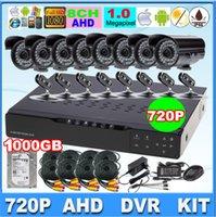 Wholesale 8CH surveillance system AHD DVR kit tvl cctv system w MP p AHD camera IR waterproof cctv camera system w TB HDD