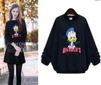 beaded cashmere sweater - And the wind of autumn and winter new large size printing cute fat mm Beaded cashmere sweater loose with duck