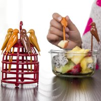 Wholesale bird fruit fork plastic birdcage dessert fork tableware environmental kitchen dining tool fruit pin barware Z