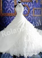Precio de Líneas blancas-2015 Una línea de vestidos de novia nuevos Impresionante Tiered Catedral Halter Organza de cuello alto con cuentas de encaje blanco vestido de novia