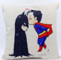 Wholesale Cushion cover cartoon Superman kiss Batman pillow case linen cotton pillow cover girl love sofa cushion case for couch car x45cm