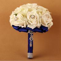 artificial diamonds - Elegant Wedding Bouquet Good Wedding Gift Beads Pearls Artificial Rose Flowers Diamond Rose Handle Bridal Holding Flowers