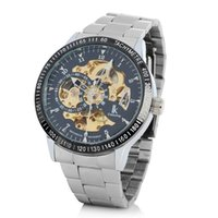 automatic strapping machines - Luxury Mechanical Watch Silver Gold Machine For Steel Strap Black Heart Dial Stainless Steel Automatic Chain Mechanical Anemometer