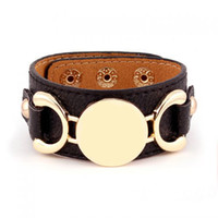 Wholesale New Style Monogram Leather Cuff Bracelet Pulseras Row Gold Silver Plated Multicolor Leather Bracelet For Women Men