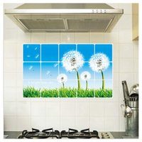 ceramic wall tile - 45 CM Height PVC Dandelion Kitchen Decor To Prevent The Oil Bathroom Mural Wall Sticker Adhesive Poster Picture Ceramic Tile