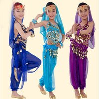 indian clothes - Children s clothing children suit Indian dance belly dance performance clothing shirt pants waist chain veil strand bracelet six sets