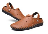 Wholesale New Arrival Fashion Mens Sandals Genuine Leather Cutout Men Slippers Blue Beige Brown Color Casual Summer Shoes For Men Q1234