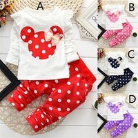 Cheap 4 Color girl Mickey Minnie dot bowknot Suits 2016 new children cartoon Long sleeve T-shirt +trousers 2 pcs Suit kids clothes B001