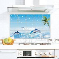 bay oil - bedroom decoration oil wall stickers stickers Dolphin Bay kitchen tiles aluminum Perot anti oil paste temperature LD027