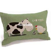 egg chair - Cotton linen car cushion covers for sofa cow chicken egg Pillowcases decorative throw pillow covers office chair Lumbar Pillow