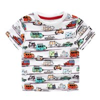 Wholesale Cool quality brand boys cartoon cars cotton short sleeve T shirt summer originality t shirts grey white Children knitted clothing