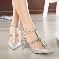 Women ballroom wedding gowns - New Glitter Sequined T strap Rivets Shoes Women Sexy High Heels Sandals Prom Gown Party Ballroom Dance Shoes Silver Gold