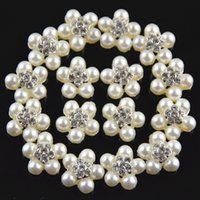 Wholesale F105 Hot Sale Flatback Silver Rhinestones Pearl Buttons for Craft Wedding Party Dress Hair Accessories