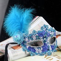 Wholesale Ostrich Feather Mask Crystal Diamond lace mask Venetian mask masquerade masks Mardi Gras Masks Women Girls Masks color