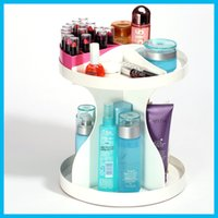 Wholesale 360 Degree Rotatable Cosmetics Plastic Makeup Storage Two Layer Multifunctional Makeup Cosmetic Organizer