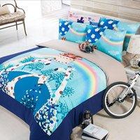 al por mayor reina juego de edredón jirafa-Arco iris ropa de cama edredón jirafa establece colchas para camas tamaño queen completo rey 3 4Pcs incluir edredón / fundas de almohada / cubierta del edredón