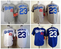 los angeles - Cheap Los Angeles Dodgers Gonzalez Mens Baseball Jerseys White Grey Blue Embroidery MLB Athletic Shirts Cool Base Football Jersey M XXXL