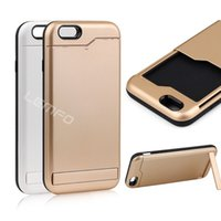 Wholesale For Apple iphone quot Plastic Case Cover With Card Holder Stand Hard Mobile Phone Cases White Gold Color New