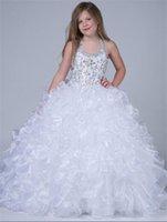 al por mayor las niñas se visten de flores ramo-Flower Girls Vestido vestido de bola Quinceanera vestidos de lentejuelas Graduación Bouquet vestido de niña de flores para la boda