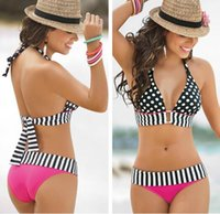Wholesale Summer Bathing Suit Sexy stripe Fringe Dotted triangl Bikini Top Bottom Swimsuit for Womens Swimwear High waisted Biquini