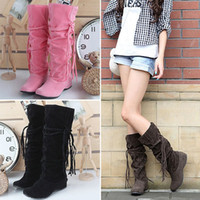 ladies shoes size - High Quality New Korean Plus Size Womens Long Boots Shoes Tassels Solid Colors Ladies Shoes Boots Size TZ0324 Kevinstyle