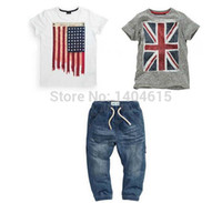 american flag t shirt - Boys summer suit with British and American flag t shirts and jeans set children s clothing retail TZX130