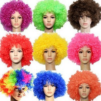 afro red - Cheap Party Wigs Rainbow Afro Clown Hair Child Adult Costume Football Fan Wig Hair Halloween Christmas Explosion Head Colorful Ball Fan Wigs