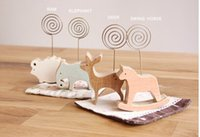 Wholesale Multi Animal Design Message Clip Wood Iron Wire Memo Clip Set Card holder Memo Stand Name card Stand
