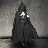black hooded cloak - Men Vintage Medieval Warrior Larp Cosplay Costume Templar Knight Black Tunic CAPE Hooded Cloak Robe with Belt
