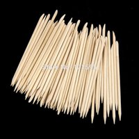 Wholesale 100pcs Useful Dual Functions Tip Oblique Head Wood Sticks Round Wood Stick Safe Hand Nail Care Arts