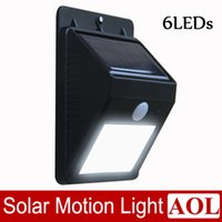 Wholesale DHL free Waterproof Bright White LEDs Solar Powered PIR Induction Motion Sensor Lights Outdoor Wall Garden Street Path Post Lamp for Xmas