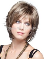 Cheap Top Quality Mix Color Short Straight Hairstyle Capless Synthetic Hair Wigs